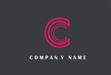 C Letter Logo Design. Line Typography Vector Illustration.