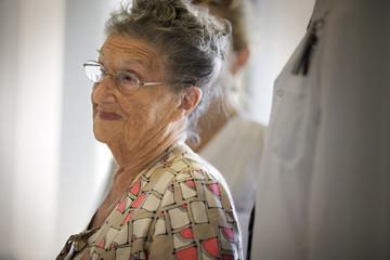 Portrait of a sad old lady.