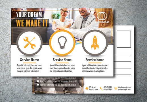 Business Postcard Layout with Orange Accents