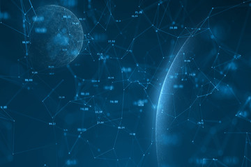 Futuristic artificial intelligence network with planets. Selective focus used. Illustration background.