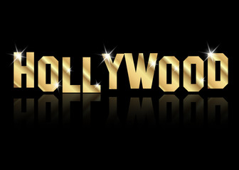 hollywood golden vector logo , gold letters isolated or black background