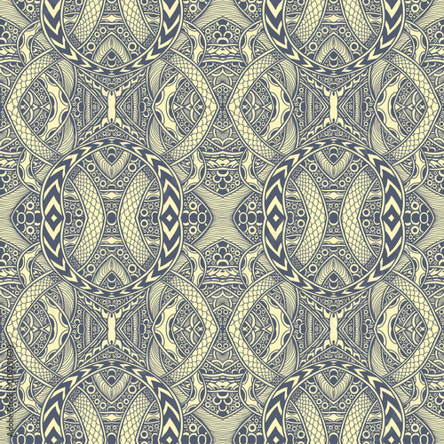 Abstract Zen Tangle Doodle Seamless Pattern Grey Yellow For Coloring Page Or Adult Book