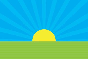 Morning sunrise. Cartoon sunrising background.