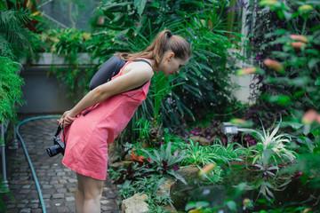 Young brunette woman, wearing pink dress, exploring in botanical garden