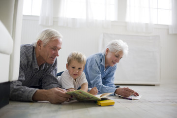 Grandparents playing with their young grandson.
