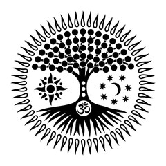 Mandala with the tree of life and the sign of Aum /om/ohm. Mystical and Spiritual symbol. The sun, the moon and the universe. Black and white graphics. Vector