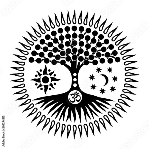 mandala with the tree of life and the sign of aum om ohm mystical