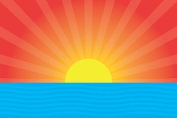 Cartoon sunset background. Sea and sunset simple design.