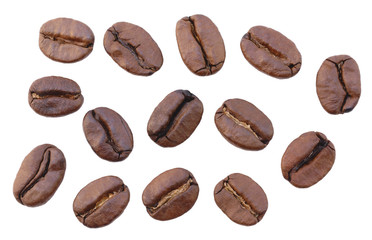 Close up fresh roasted coffee beans isolated on white background.