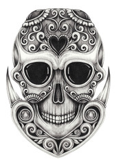 Art Vintage mix Sugar Skull Day of the dead. Hand drawing on paper.