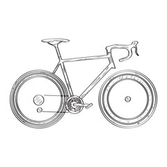 Isolated bicycle sketch