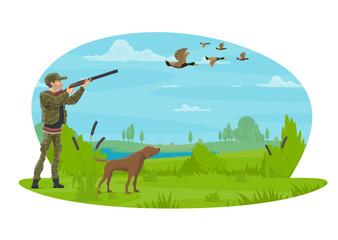 Hunter and hunt for ducks vector poster design