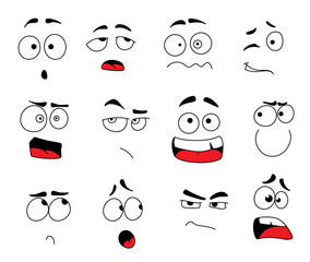 Vector smile emoticons or emoji faces icons set