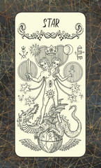 Star. The Magic Gate tarot deck card. Fantasy engraved illustration with occult mysterious symbols and esoteric concept, vintage background