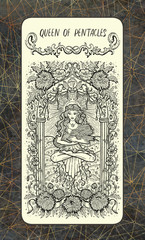 Queen of pentacles. The Magic Gate Tarot deck card. Fantasy engraved illustration with occult mysterious symbols and esoteric concept, vintage background
