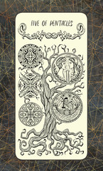 Five of pentacles. The Magic Gate Tarot deck card. Fantasy engraved illustration with occult mysterious symbols and esoteric concept, vintage background