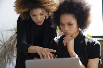 Businesswomen using laptop while sitting in office