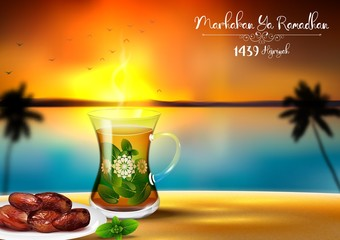 Marhaban ya Ramadhan. Iftar party celebration with traditional tea cup and a bowl of dates in sunset beach background