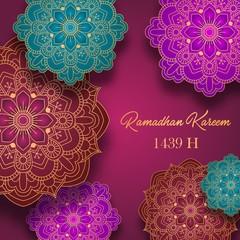 Ramadan Kareem greeting card with colorful arabic design patterns