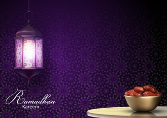 Ramadan Kareem greetings with lanterns hanging and a bowl of dates on dinner table