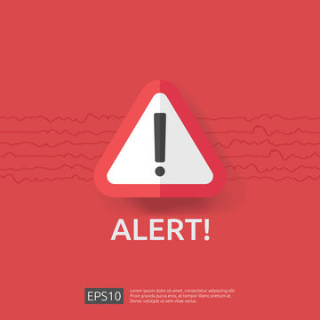 warning alert sign with exclamation mark symbol. disaster attention protection icon concept vector illustration.
