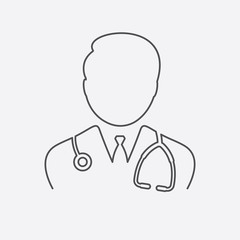 Medical Doctor Icon - Male Health Care Physician With Stethoscope Vector illustration