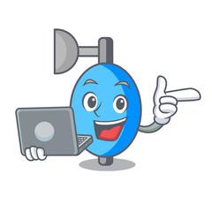 With laptop ambu bag character cartoon