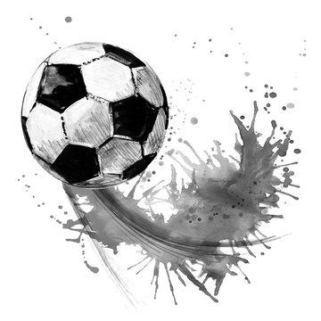 Soccer ball. football watercolor hand drawn illustration