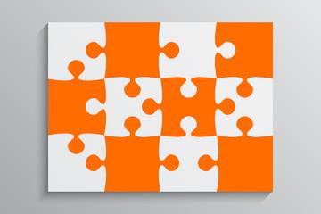 Orange Piece Puzzle Banner. 12 Step. Background.
