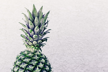Pineapple Against A Wall As A Background With Copy Space