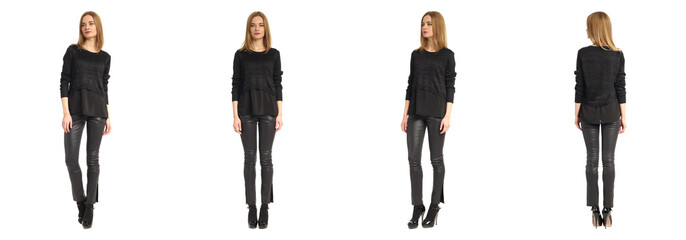 Pretty attractive woman in black leather pants and sweater Fototapete