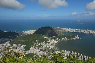 Lagoa; Botafogo Beach; sky; promontory; aerial photography; sea