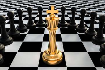 Golden King surrounded by black pawns - chess trap concept