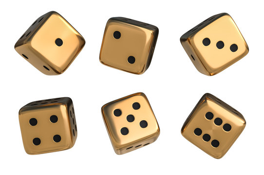 Set of golden dice with black dots isolated on white background