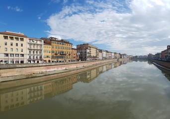 Arno River; waterway; reflection; water; sky