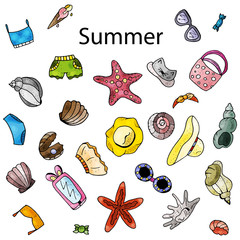 Summer time, hand drawn objects : sunglasses, swimming suit, hats, ice cram, seashells, bags, trousers.