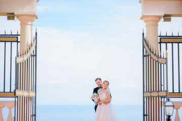 Bride and groom hold each other tender standing in open gates before a great sea view