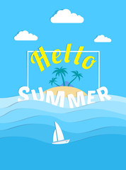 hello summer poster design paper cut sea waves island sail boat
