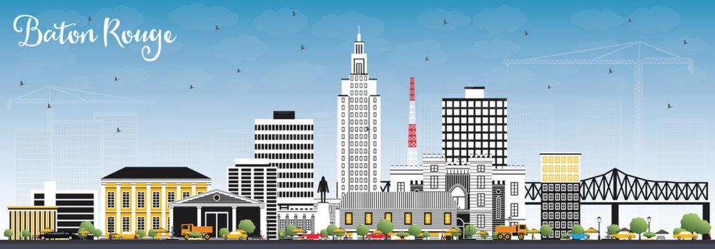 Baton Rouge Louisiana City Skyline with Color Buildings and Blue Sky.