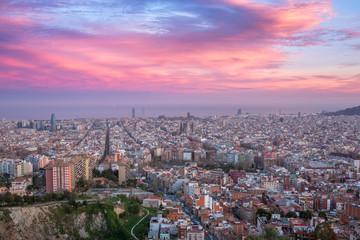 Beautiful panorama view of Barcelona city skyline and Sagrada familia at sunset time, Spain