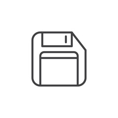 Floppy disk outline icon. linear style sign for mobile concept and web design. Diskette simple line vector icon. Save symbol, logo illustration. Vector graphics