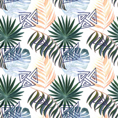 Seamless colorful tropical pattern. Leaves of a palm, monstera on a white background.