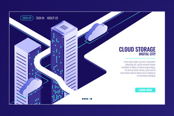 Urban data city, cloud storage concept, server room rack, data center, database, bigdata isometric vector