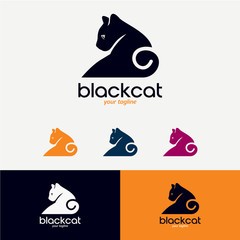 Black Cat Logo Designs Template