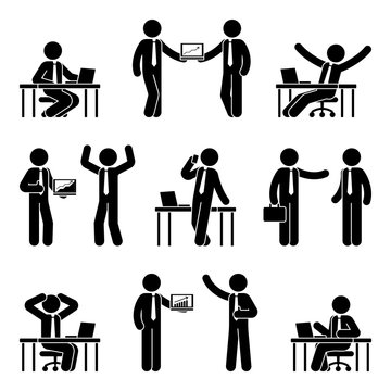Stick figure business man icon set. Vector illustration of male at workplace isolated on white