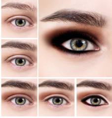 Collage of female eye with makeup steps.