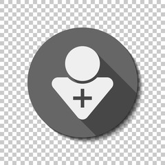 doctor, person with medical cross. White flat icon with long sha