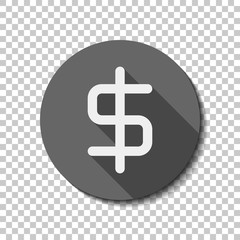 simple dollar symbol. White flat icon with long shadow in circle