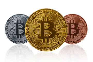 Three type of Bitcoin isolated on white. Visual cryptocurrency coin.