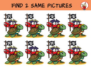 A turtle and a funny crab with a pirate flag. Find two the same pictures. Educational matching game for children. Cartoon vector illustration